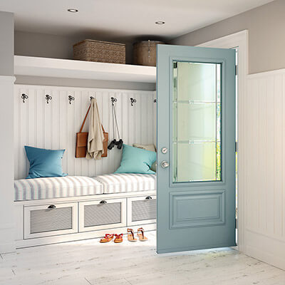 A modern sky blue colored door
