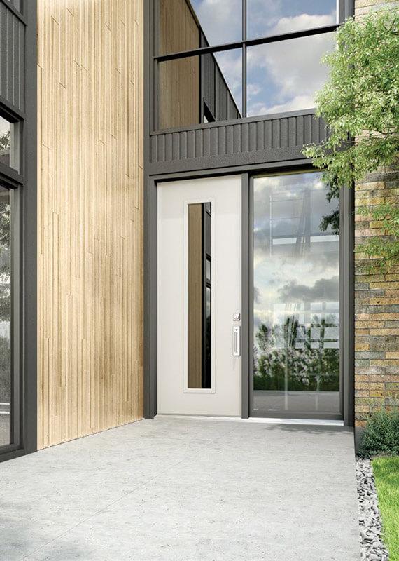 A Sleek European Style Front Door With Modern, Custom Glass Insert ...