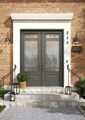 Grey, double fiberglass entry doors