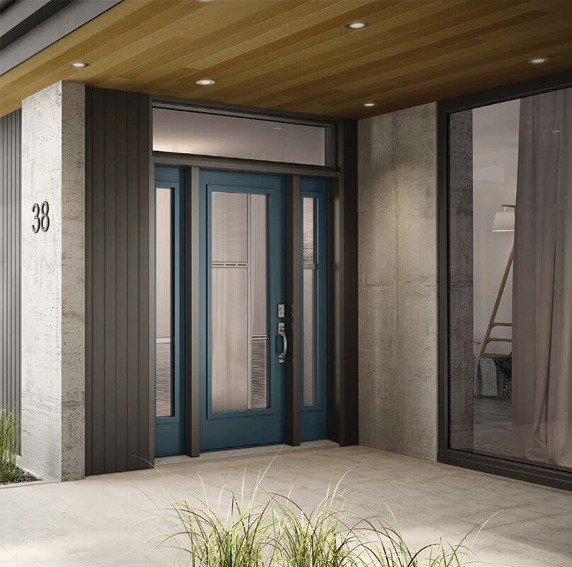 Delicieux Wooden Residential Door With Three Panelled Glass Insert Modern Black Steel  Entry ...