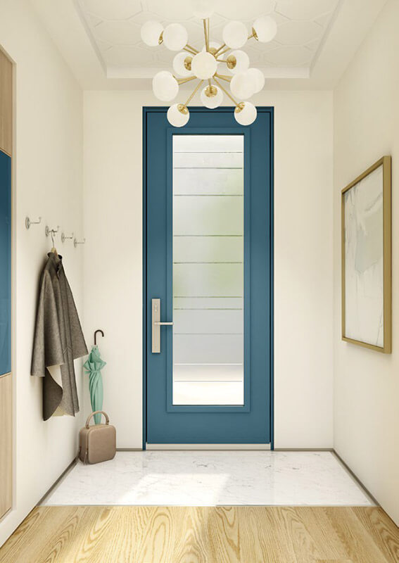 Interior View Of Teal Steel Entry Door With Full Glass Insert