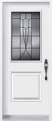 Door with half lite decorative glass insert