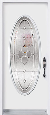 Door with full custom-shaped decorative glass insert
