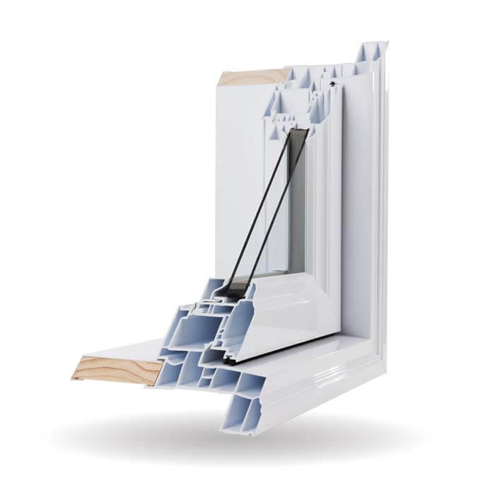 A Nordik brand Casement Window opened up to showcase it's features.
