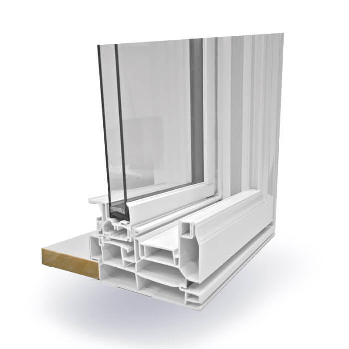 A Nordik brand Double Slider Window opened up to showcase it's features.