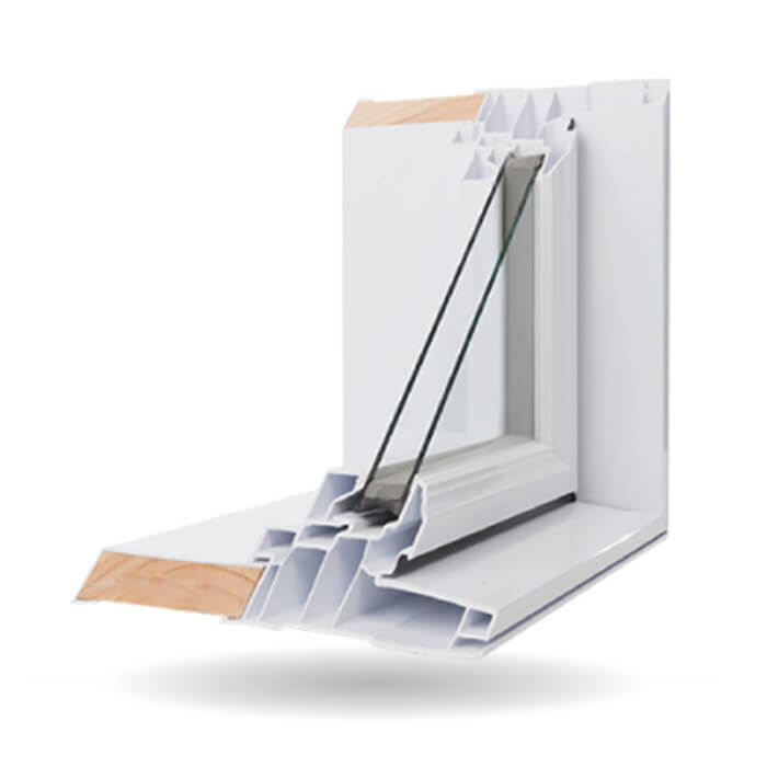 A Nordik brand Shaped Window opened up to showcase it's features.