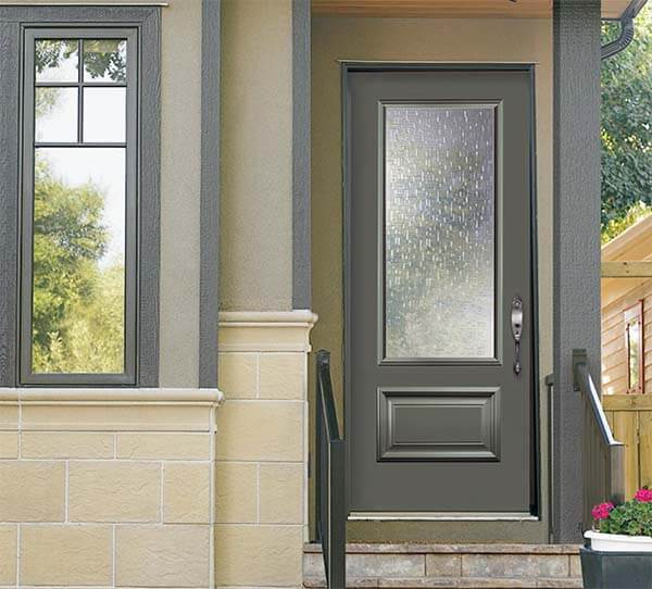 Grey, modern steel entry door with Augusta style hardware.