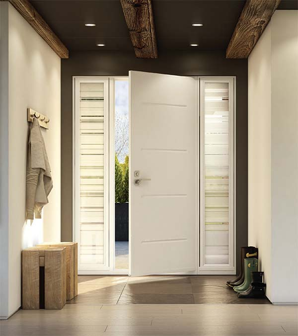 Slightly ajar white, modern steel entry door with double sidelites.