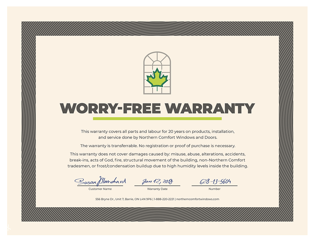 An image of the Northern Comfort Worry-free warranty.