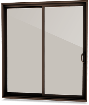 Commercial brown coloured patio door with bronze tinted glass