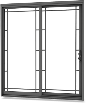 Dark steel coloured patio door with matching contour grille and locking mortise handle