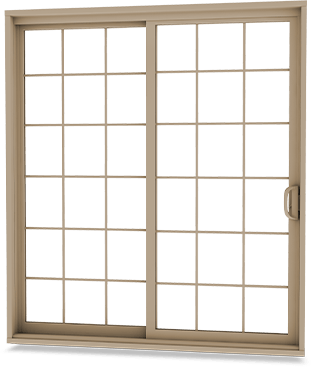 Tan-coloured patio door with matching full rectangular grille