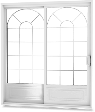 White patio door with V-groove low-E arched glass design and embossed garden door panels