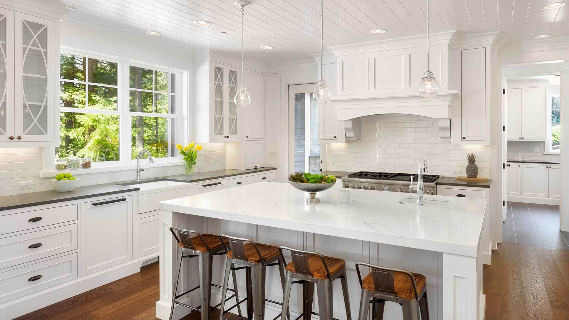 Modern renovated kitchen with a Classic Series Double Hung Window above the kitchen sink.
