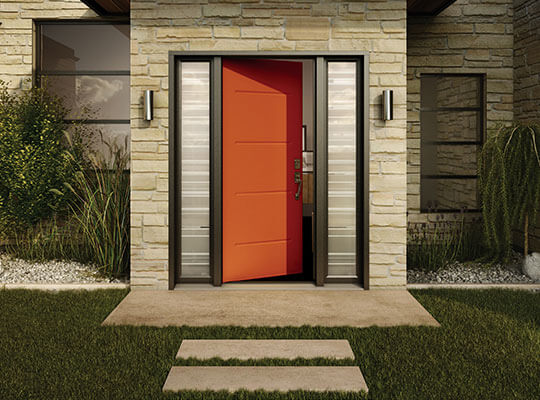A modern orange residential steel door with black sidelites & Front Doors | Steel Fibreglass Doors | Northern Comfort Windows ... pezcame.com