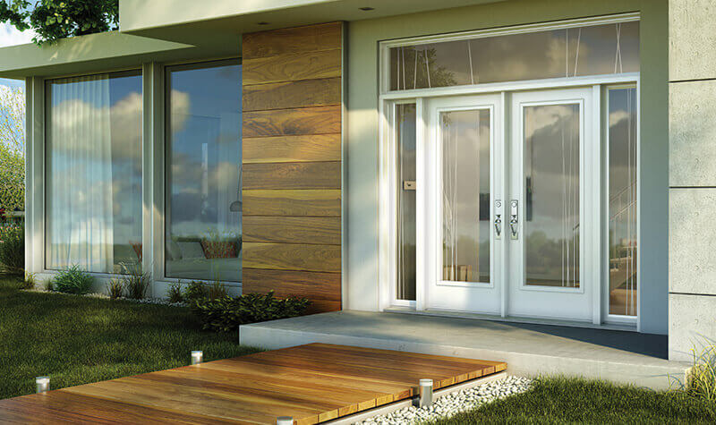 Modern white double doors with rectangular transom and double sidelites