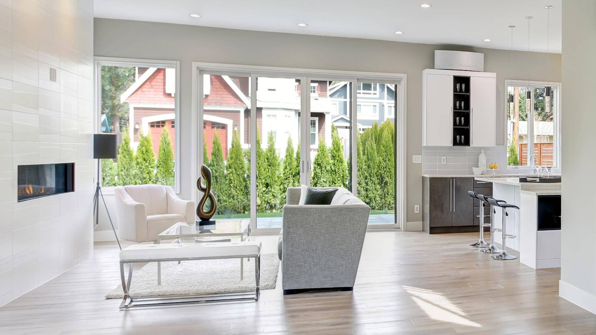Sliding Patio Doors in a Modern Living room in the suburbs.