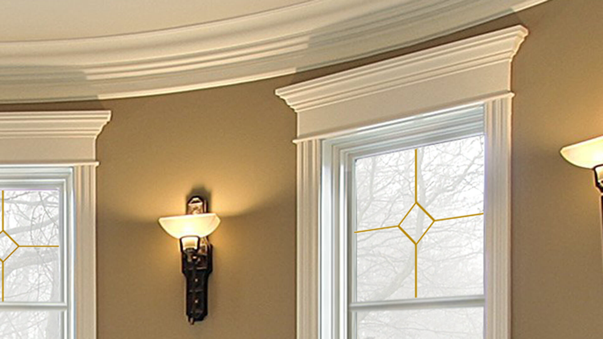 Specialty casing and trim on a living room window.