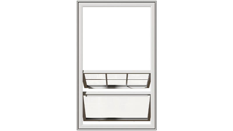 An open Classic Series Double Slider Window from the front.
