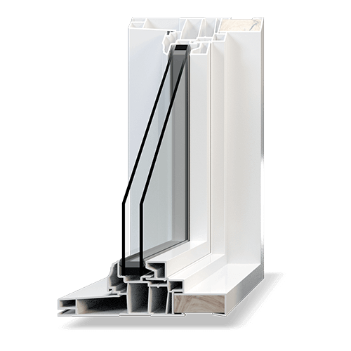 Classic PVC low-profile fixed window cutaway