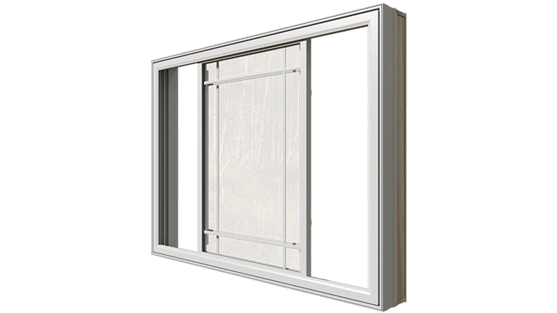 An open Classic Series Double Slider Window from the side.
