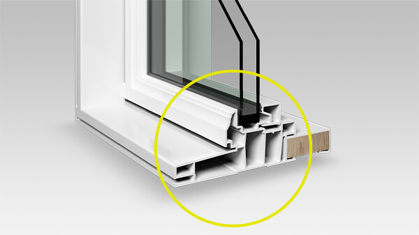 Multiple air chambers in a hollow fixed window profile