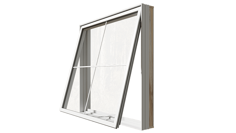 An open RevoCell® Awning Window from the side.