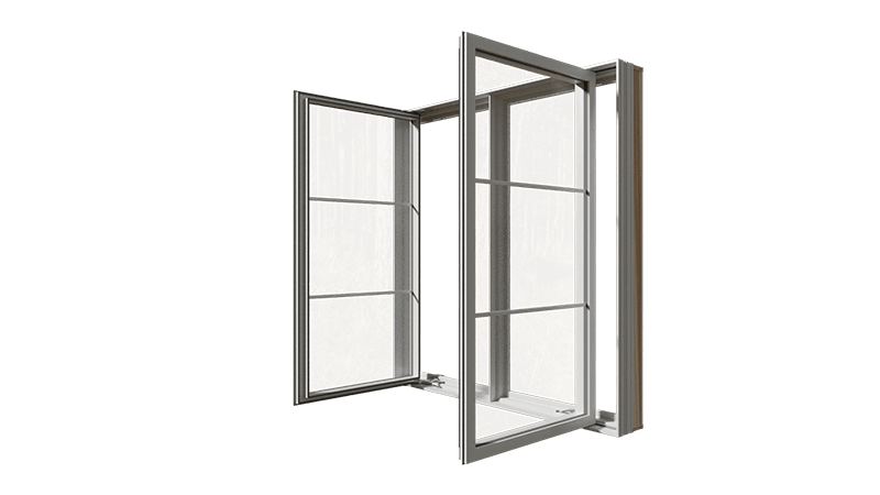 An open RevoCell® Casement Window from the side.