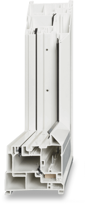 Traditional PVC window head on