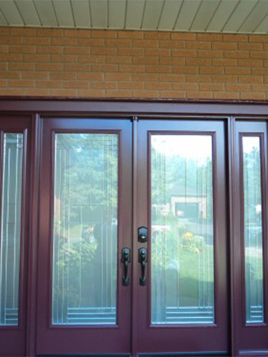 maroon double steel doors
