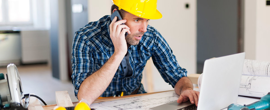contractor on phone