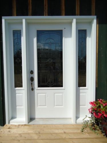 white steel door with side windows