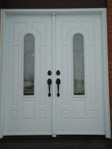 double white steel entry doors