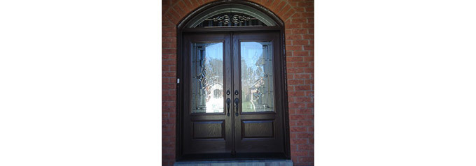 dark brown double fibreglass doors