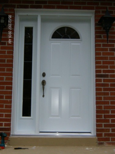 white steel entry door with side window