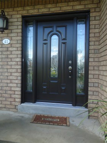 dark brown steel entry door