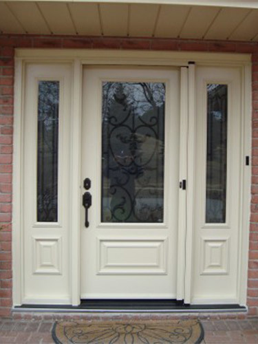 cream steel entry door
