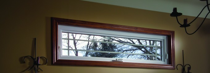 awning window with brown trim