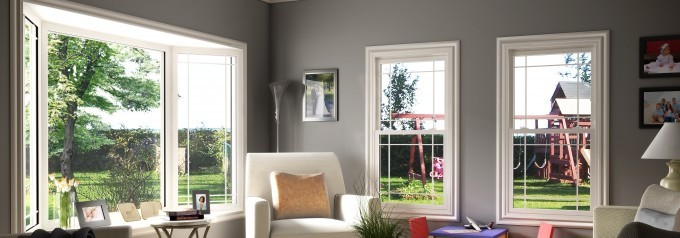double hung tilt windows in living room