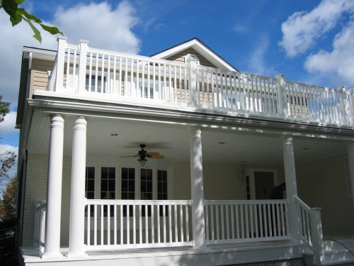 close up of white railing on upper deck