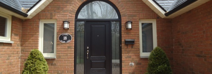 fibreglass door with arched window