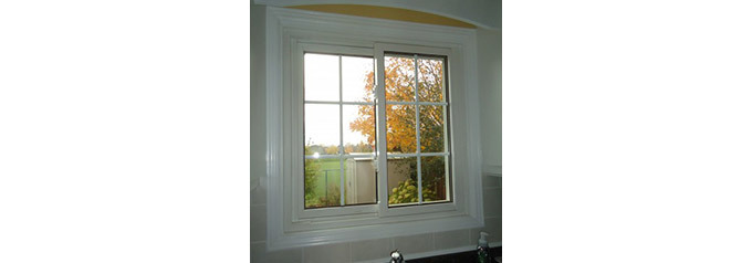 small slider window with white trim