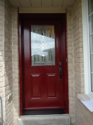 dark red steel door
