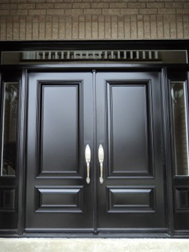dark double steel entry doors