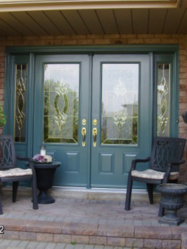 dark green double steel entry doors
