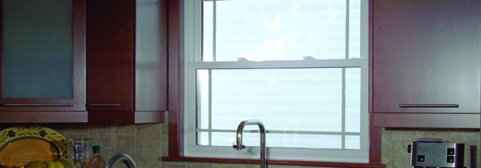 single hung tilt window in kitchen