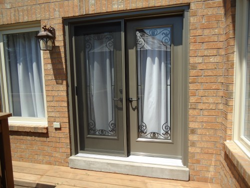 light brown garden doors