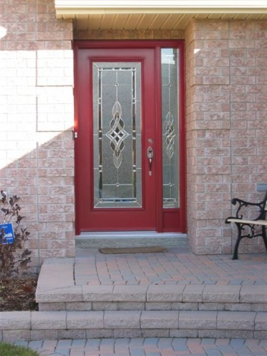 red steel entry door with side window