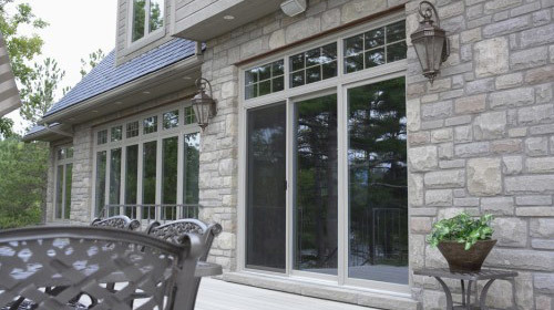 patio door on stone house