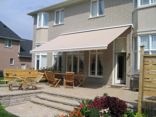 tan awning over patio